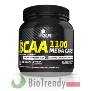 BioTrendy - BCAA 1100 Mega Caps PL - tabletki na przyrost masy miesniowej – tabletki na mase miesniowa