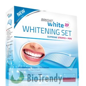 BioTrendy - Bright White Whitening Set Supreme Stripes + Pen PL - wybielanie zebow - snieznobialy usmiech