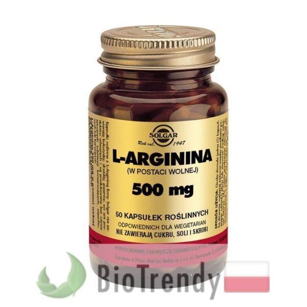 BioTrendy -Solgar L-Arginina 500 mg PL - tabletki na sprawnosc seksualna – tabletki na potencje