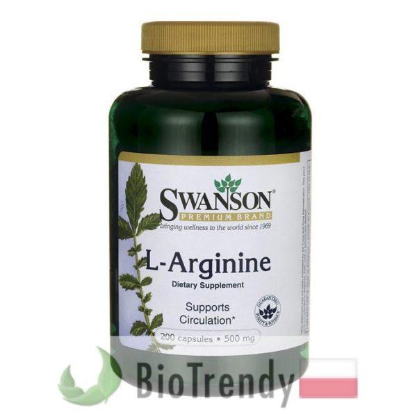 BioTrendy - Swanson L-arginina 500 mg PL - tabletki na sprawnosc seksualna – tabletki na potencje