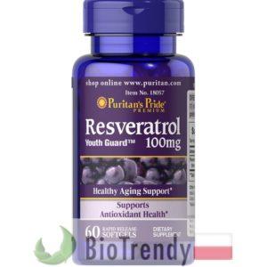 BioTrendy - Puritan's Pride Resweratrol 100 mg PL - tabletki na zmarszczki – tabletki na stres oksydacyjny